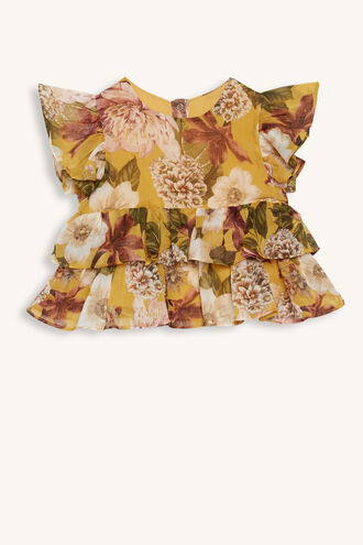 LILLY TIERED TOP in colour MISTED YELLOW