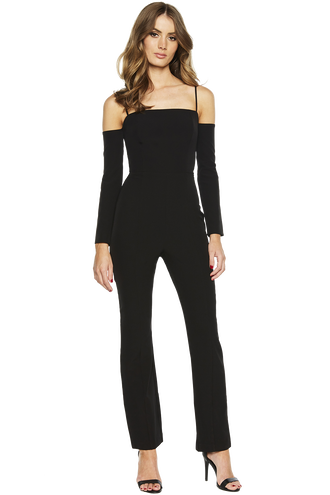 RIB PANTSUIT in colour CAVIAR