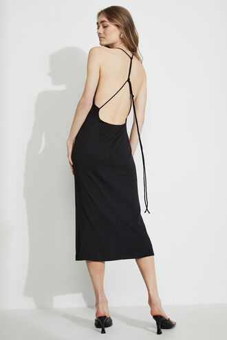 BACKLESS SLINKY DRESS in colour CAVIAR