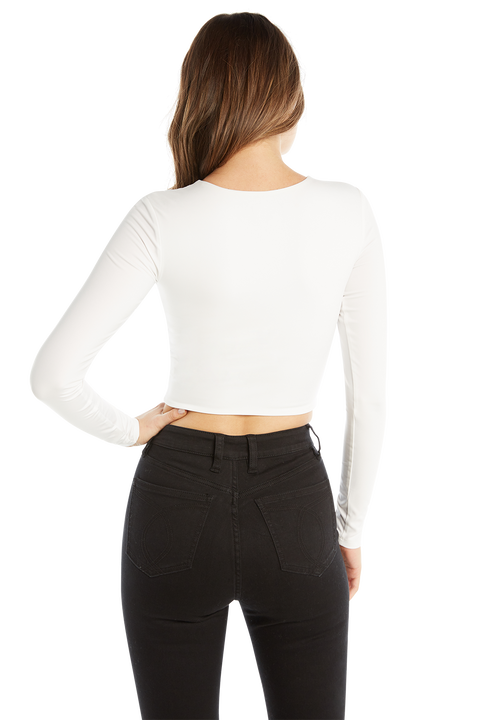 BRIA LONG SLEEVE CROP TOP in colour BRIGHT WHITE