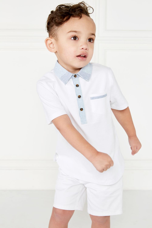 JUNIOR BOY contrast polo in colour BRIGHT WHITE
