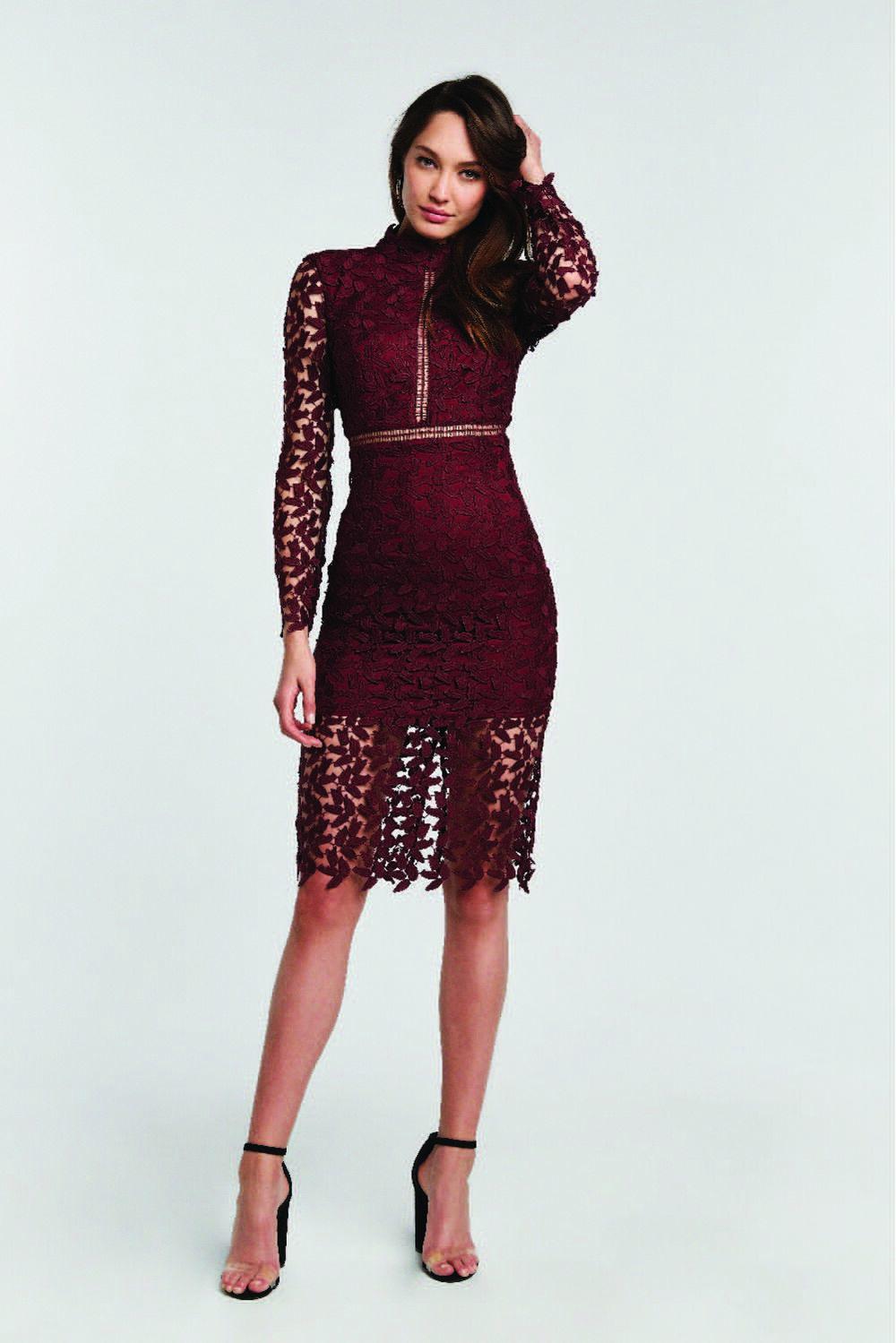 ALBERTA LACE DRESS in colour BURGUNDY