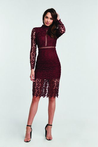 ALBERTA LACE DRESS in colour BURGUNDY