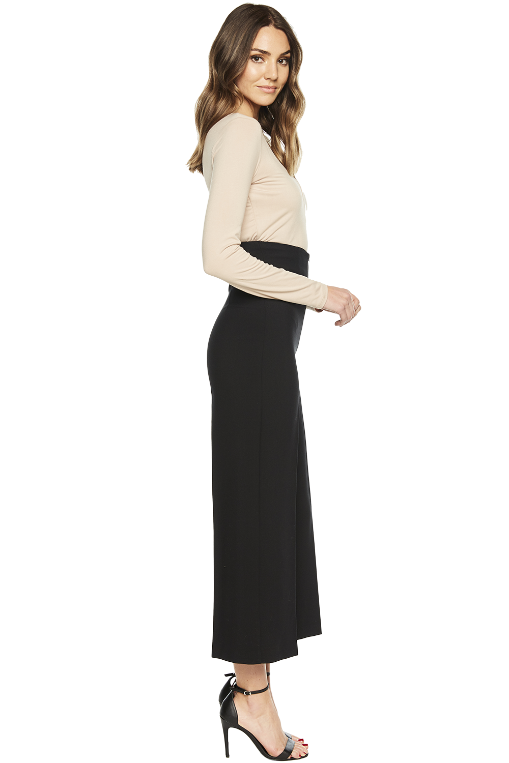 STEF WIDE CROP PANT in colour CAVIAR