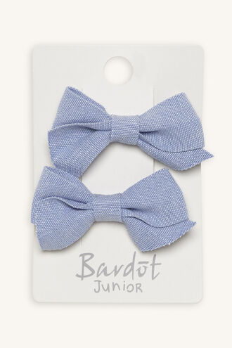 CHAMBRAY BOW SET in colour CASHMERE BLUE