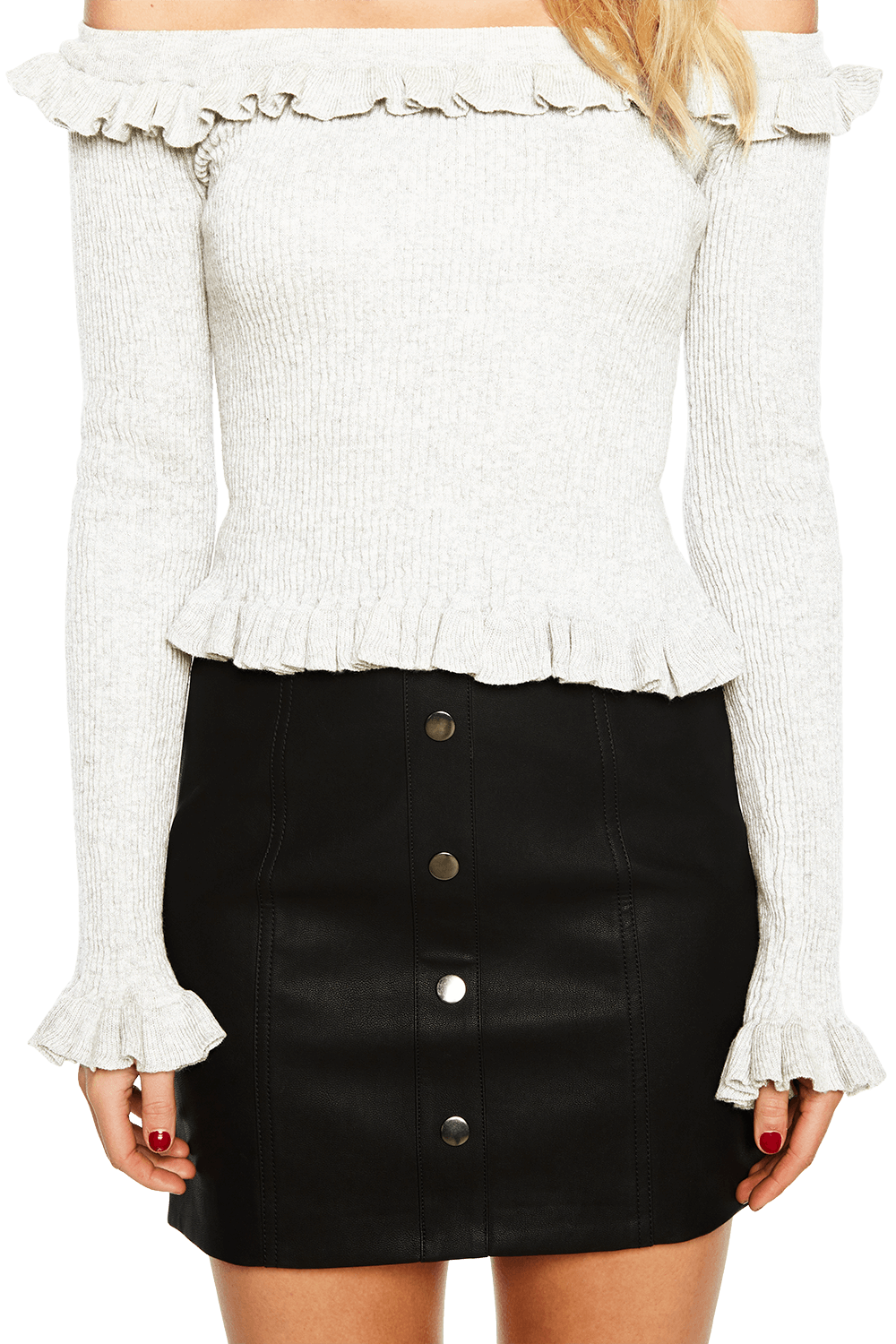 KIM OFF SHOULDER KNIT in colour SNOW WHITE