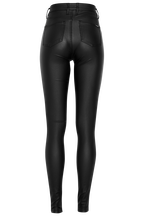 KHLOE HI TALL COATED JEAN in colour JET BLACK