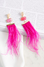 FEATHER DROP EARRINGS in colour HOT PINK