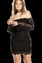 FLORA LACE DRESS in colour CAVIAR