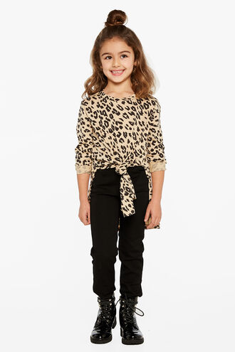 LEOPARD L/S TYLA TEE in colour JET BLACK