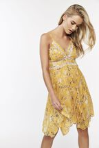 YELLOW FLORAL DRESS in colour YELLOW CREAM