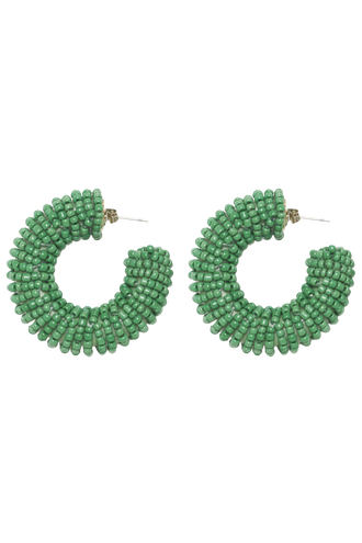 BEADED LOVE HOOP in colour GREEN ASH