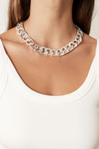 SILVER CHUNKY NECKLACE in colour SILVER