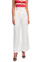 WIDE LEG BELT PANT in colour CLOUD DANCER