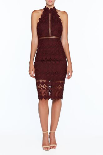 NONI HALTER DRESS in colour WINETASTING