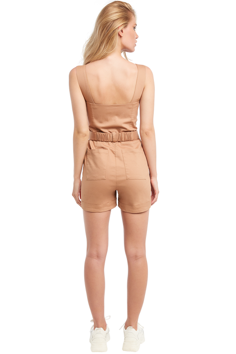 BUCKLE SHORT PLAYSUIT in colour PRALINE