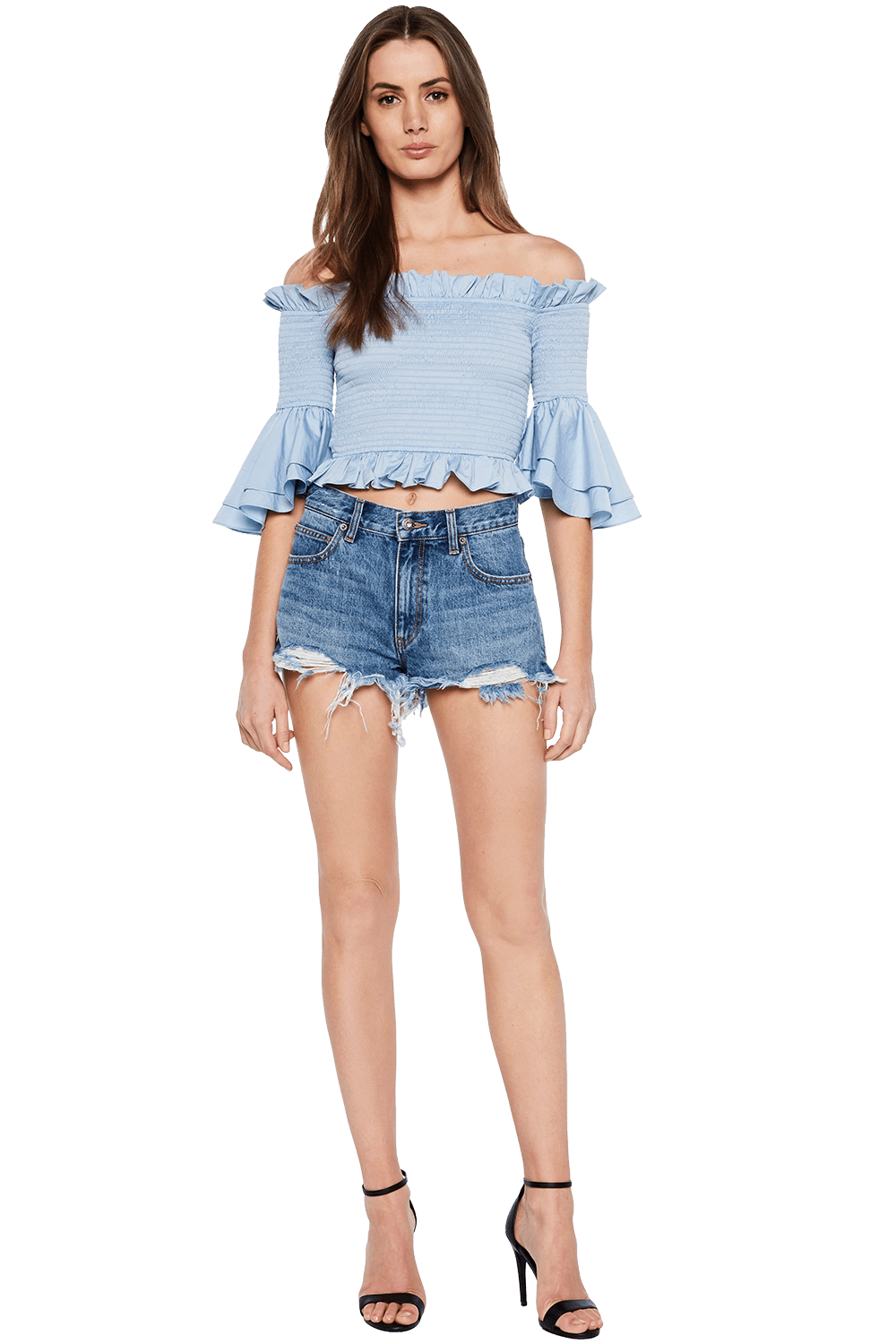 ERIN CUT OFF DENIM SHORT in colour TRUE NAVY