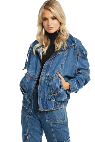 DENIM PANEL JACKET in colour TRUE NAVY