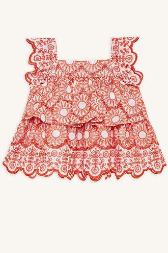 ESME BRODERIE TOP in colour MANDARIN RED