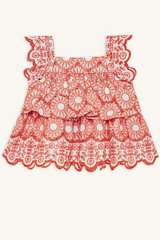 ESME BRODERIE TOP in colour MANDARIN RED