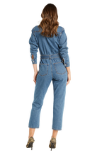 CLASSIC DENIM JUMPSUIT in colour DUSTY BLUE