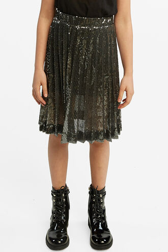 IVA SEQUIN PLEAT SKT in colour GLACIER GRAY