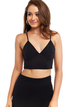 ELLIS BRALETTE TOP in colour CAVIAR