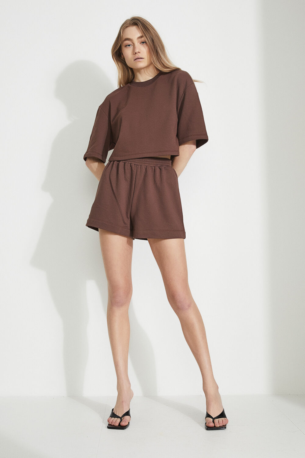 TRACK SHORTS in colour CHOCOLATE BROWN