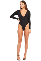 ALI LONG SLEEVE BODYSUIT in colour CAVIAR