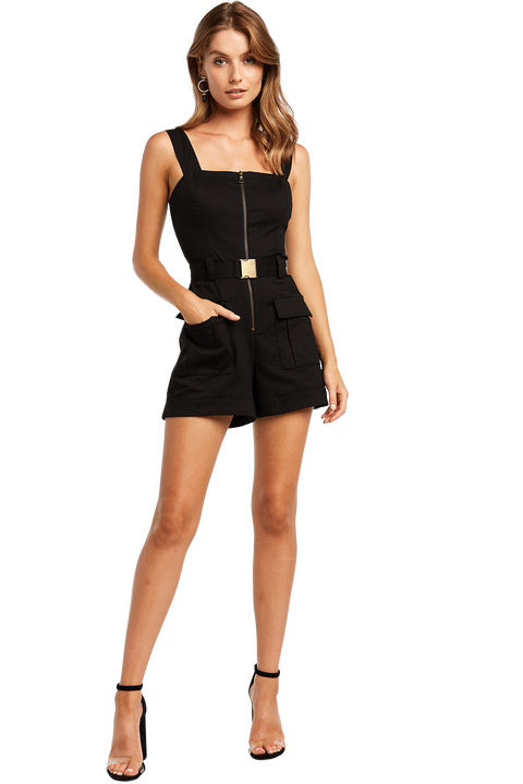 BUCKLE SHORT PLAYSUIT in colour CAVIAR