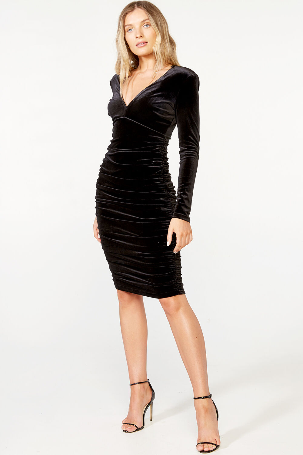 LORENA STRETCH DRESS  in colour CAVIAR