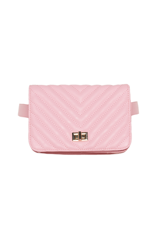 QUILTED BELT BAG in colour PINK CARNATION