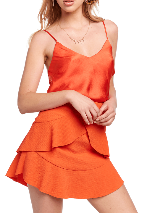 CROPPED CAMI in colour MANDARIN RED