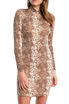 SNAKE LONG SLEEVE DRESS in colour PEBBLE