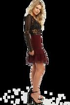 ANNIKA LACE BODYSUIT in colour CAVIAR