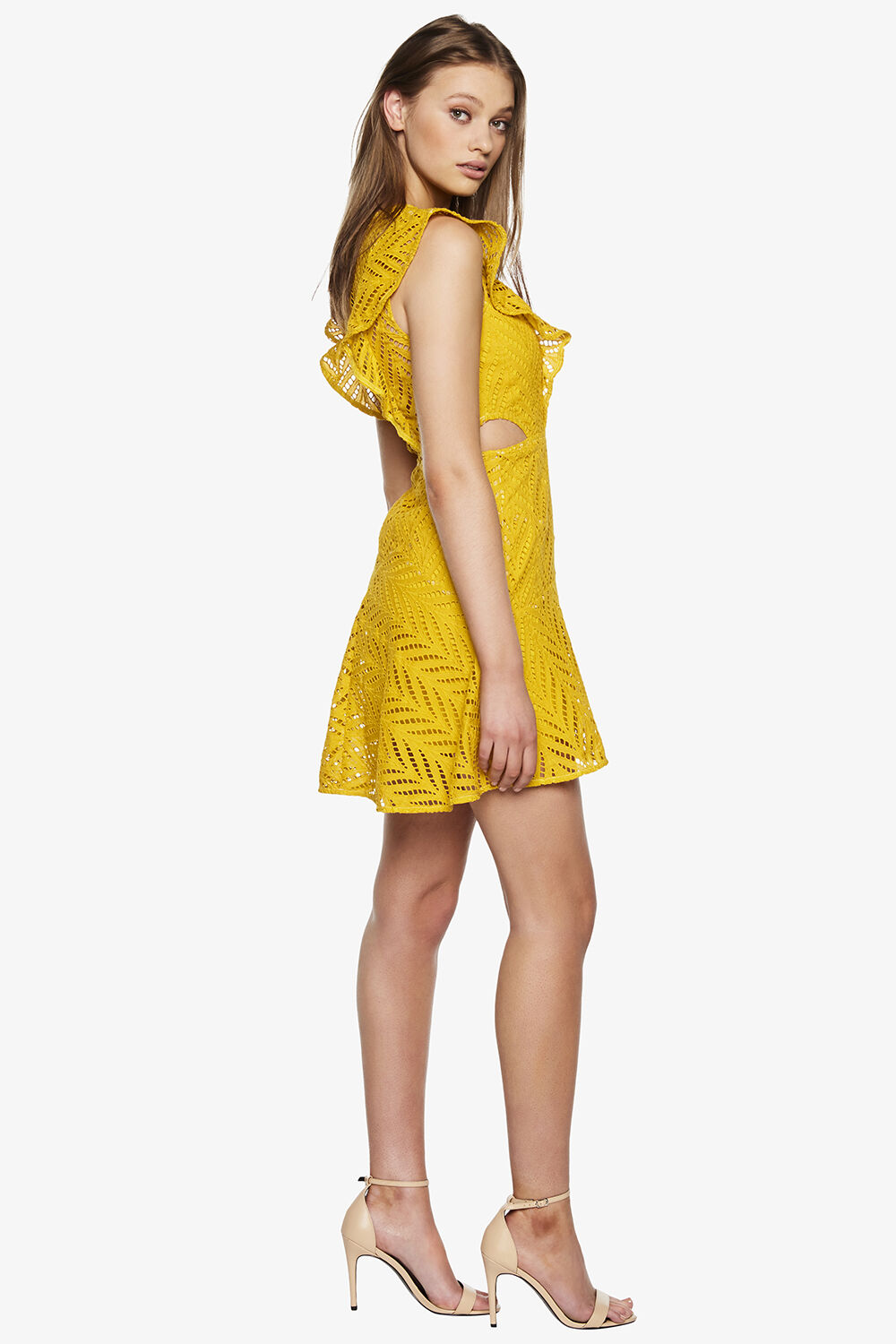 KIRA FRILL DRESS in colour MISTED YELLOW