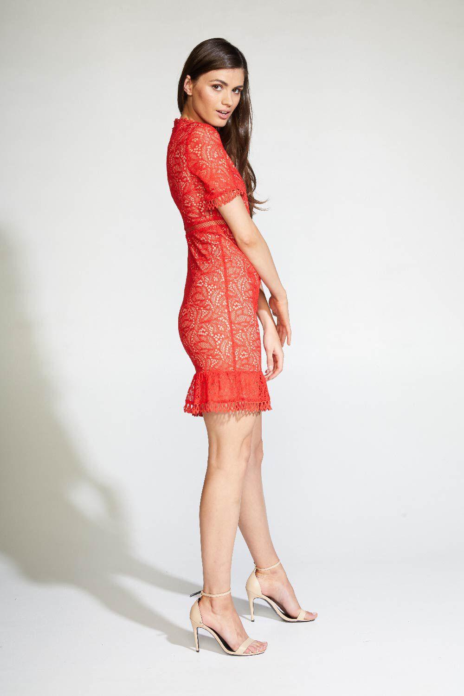THEODORA LACE DRESS in colour FIESTA