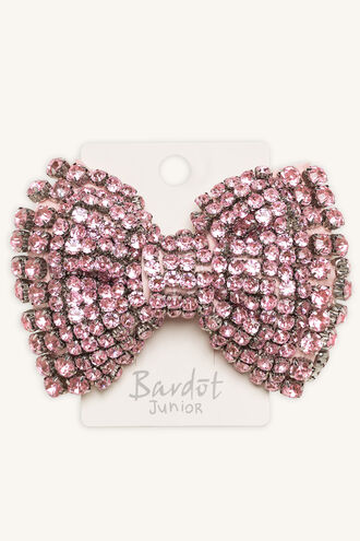 DIAMANTE COVERED LARGE BOW in colour PINK CARNATION