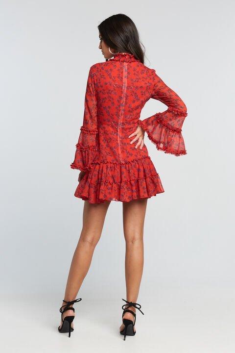 SONNY FRILL DRESS in colour RIBBON RED