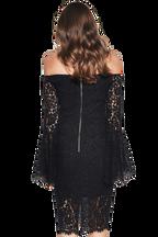 SOLANGE LACE DRESS in colour CAVIAR
