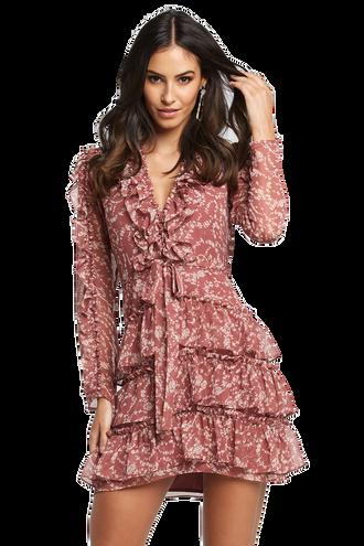 ALESSIA FRILL DRESS in colour BAROQUE ROSE