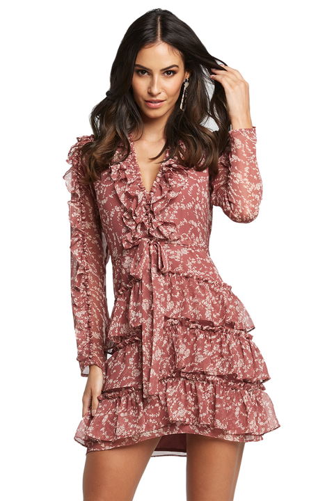 ALESSIA FRILL DRESS in colour BAROQUE ROSE