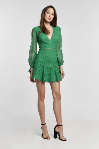 RUTH EMPIRE DRESS in colour PEPPER GREEN