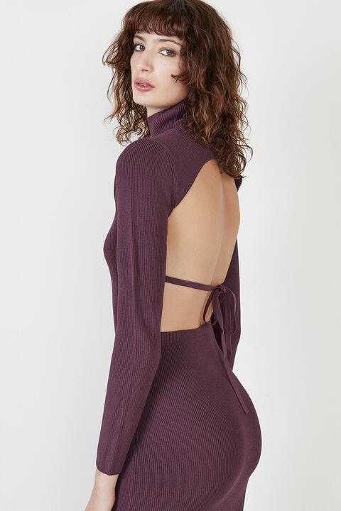 SANTI BACKLESS KNIT DRESS in colour BURGUNDY