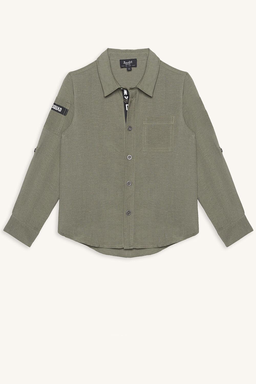 JUNIOR BOY ARMY SHIRT in colour DEEP LICHEN GREEN