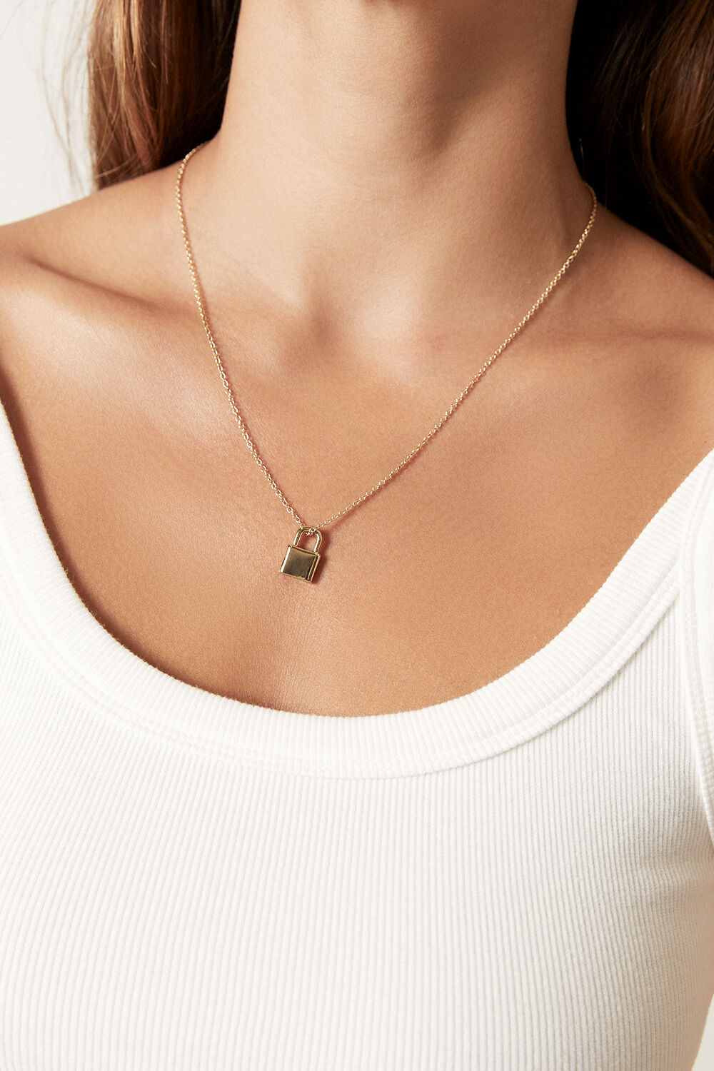 FINE PADLOCK NECKLACE in colour GOLD EARTH