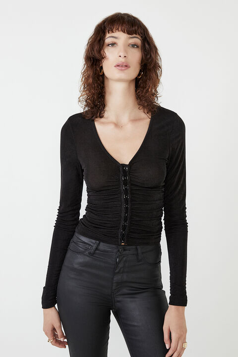 DEMI ROUCHED TOP in colour CAVIAR
