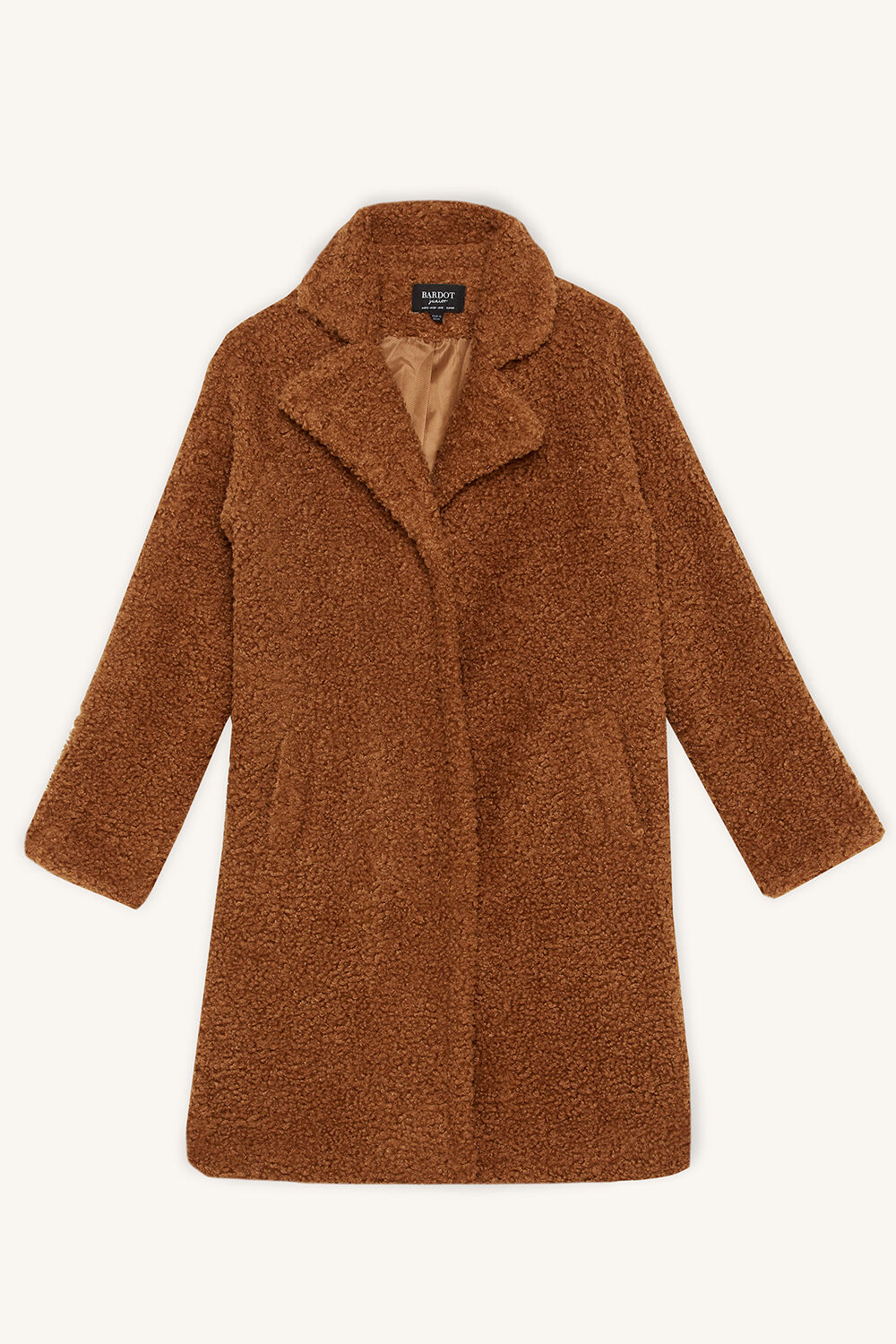 TWEEN GIRL IZZY LONG COAT in colour WOODSMOKE