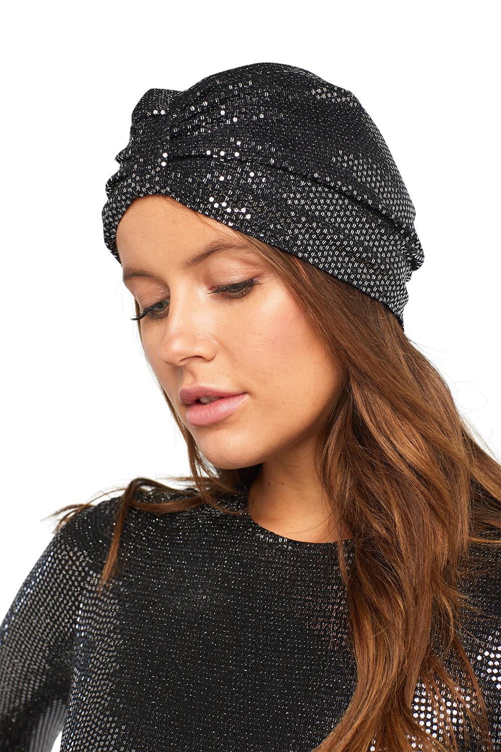 SEQUIN TURBAN in colour GREEN ASH