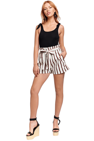 EVELYN STRIPE SHORT in colour CLOUD DANCER